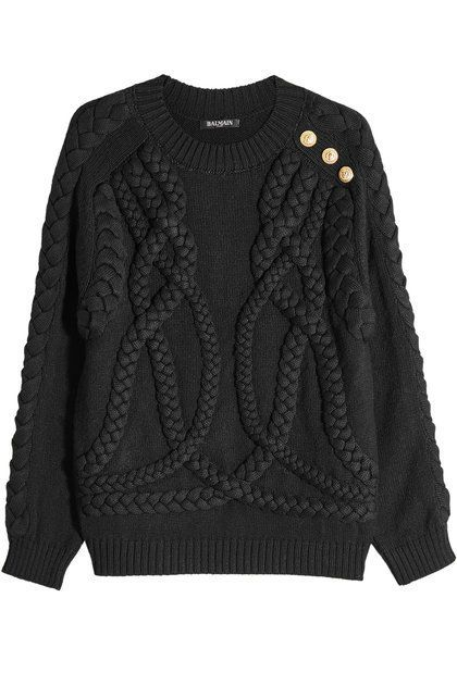BALMAIN -Styled with a raised braided texture and a plush wool composition, this black pullover from Balmain will breathe contemporary attitude into your edit. The embossed gold-tone buttons lend shine and make it instantly recognisable | STYLEBOP
