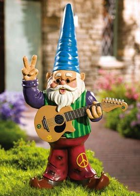 Hippy Gnome...hahahaha I LOVE it and I NEED one of these little dudes...would be a happy and welcome addition to my sunrise cup of coffee in the yard :)