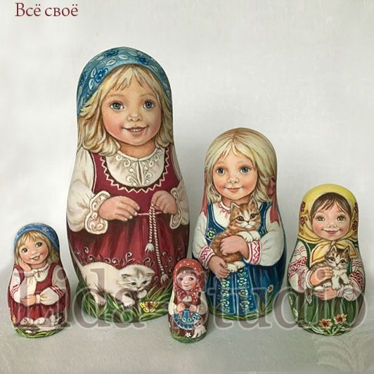"Nesting dolls of 5pcs. ""Little Girls and Kittens"" by Lida-Studio. Lilia K. Miroshnichenko (88) is the oldest and one of the well-known artists of our Studio. The artist is a member of the team of confederate-artists ""Lida-Studio"" since 1995."