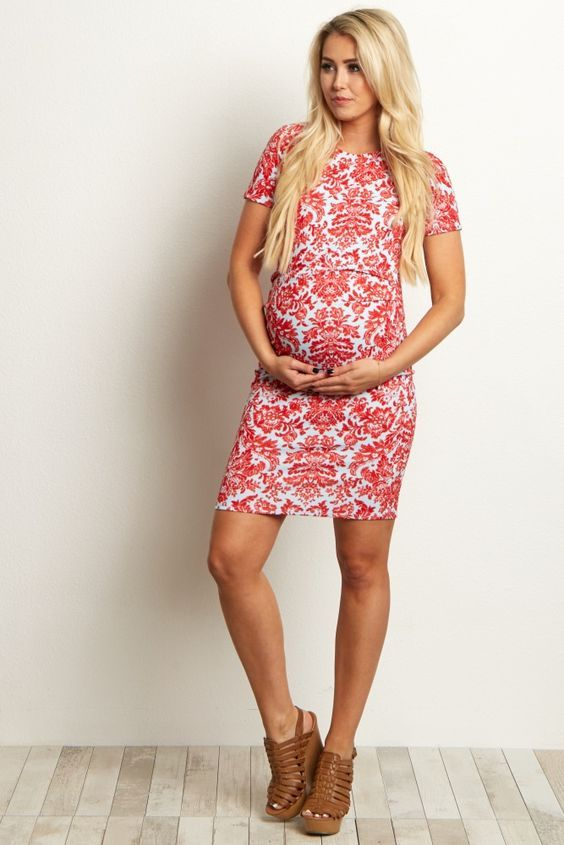 Mint-Green-Fitted-Damask-Maternity-Dress: #manternity | Shop @ NursingClothes.com