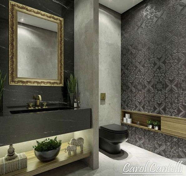 Like this for guest bathroom. Like the recessed shelves on the side of the loo and the simple vanity with open shelf and light   Would need a few drawers for supplies