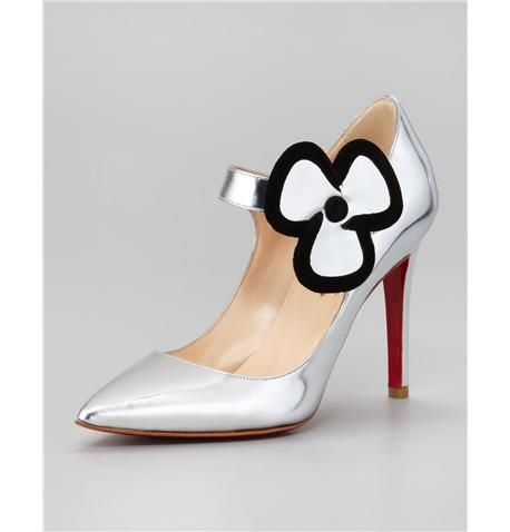 Christian Louboutin Pensee Mary Jane Flower Red Sole Pump, Silver- Check out this great find on CBuy.tv - Celebrity Fashion - See it, buy it!