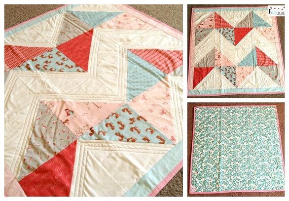 tillytom    cot / crib quilt walk in the woods by tillytomdesigns, $180.00
