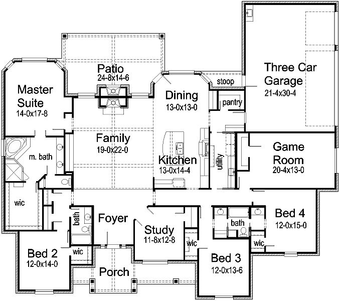 Floor Plan. Love bed 3 & 4 sharing bathroom, make bedroom 3 an in-law suite, flip dining and kitchen.