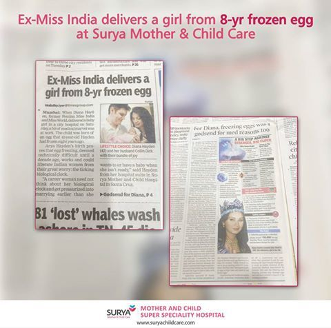 Ex-Miss India delivers a girl from 8-yr frozen egg at Surya Mother & Child Care