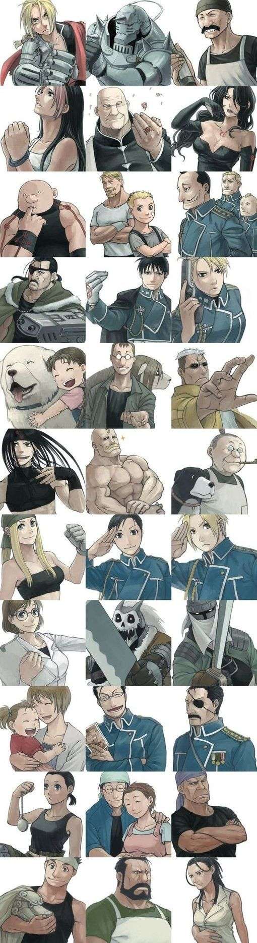 And I believe this approximates about half of the named characters in Fullmetal Alchemist.