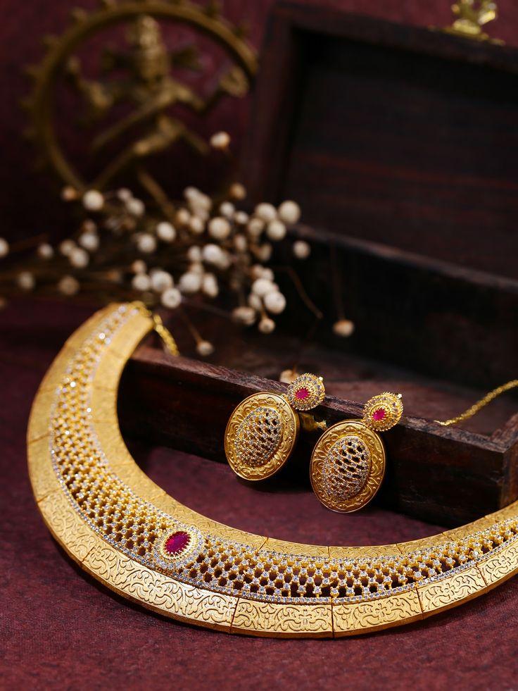 DHRUVI by Zaveri Pearls & Gold-Toned Cubic Zirconia Jewellery Set