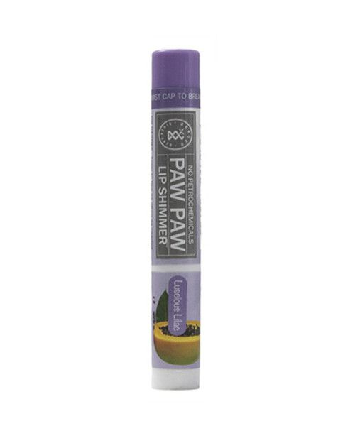Paw Paw Lip Shimmer Lusious Lilac 2g- Paw Paw Lip Shimmers' natural formula is rich in Paw Paw with the added nourishment of Shea Butter,  Honey, Vitamin E and Grapeseed Oil to moisturise dry lips, leaving them with just a hint of colour. The petrochemical-free formula is gentle on sensitive lips and is available in six fashion-forward colours. Paw Paw Lip Shimmers are perfect to throw in your handbag and use without a mirror when you're on the go.