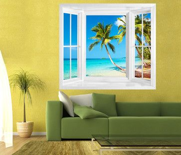 TROPICAL BEACH VIEW OF KOOD ISLAND, THAILAND. WINDOW FRAME WALL STICKER - tropical - decals - by Art Fever