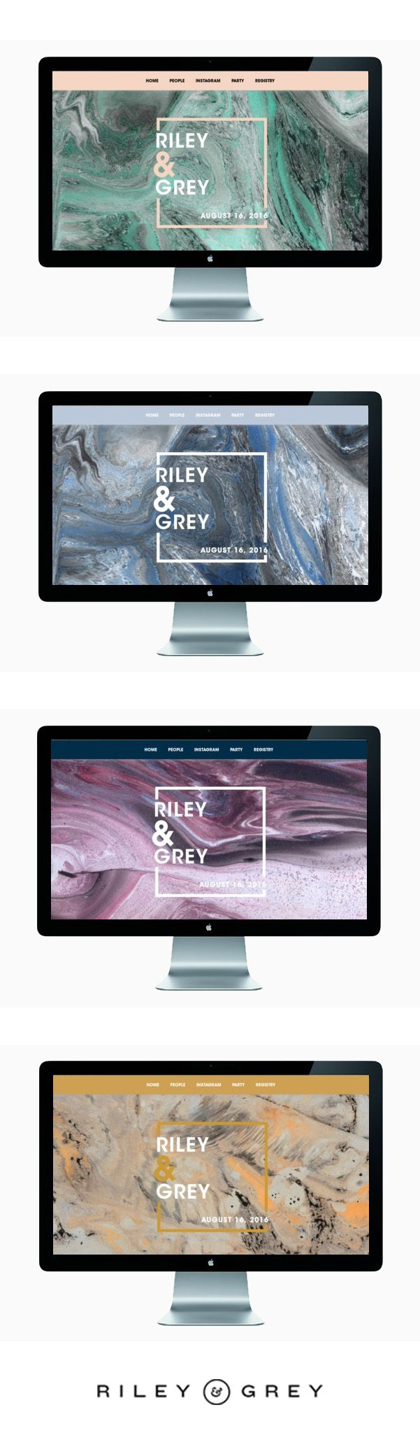 """""""ROLLING STONE"""" marble wedding website templates designed by RILEY & GREY"""
