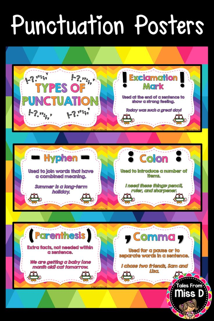 These Punctuation Posters are a bright and colourful addition to any classroom. Each of the 12 Posters (including header poster) define the type of punctuation and provide a written example. Types of Punctuation included:  * Exclamation Mark * Parenthesis * Comma * Quotation Marks * Question Mark * Hyphen * Colon * Semicolon * Apostrophe * Period * Full Stop (for naming purposes, instead of Period) © Tales From Miss D