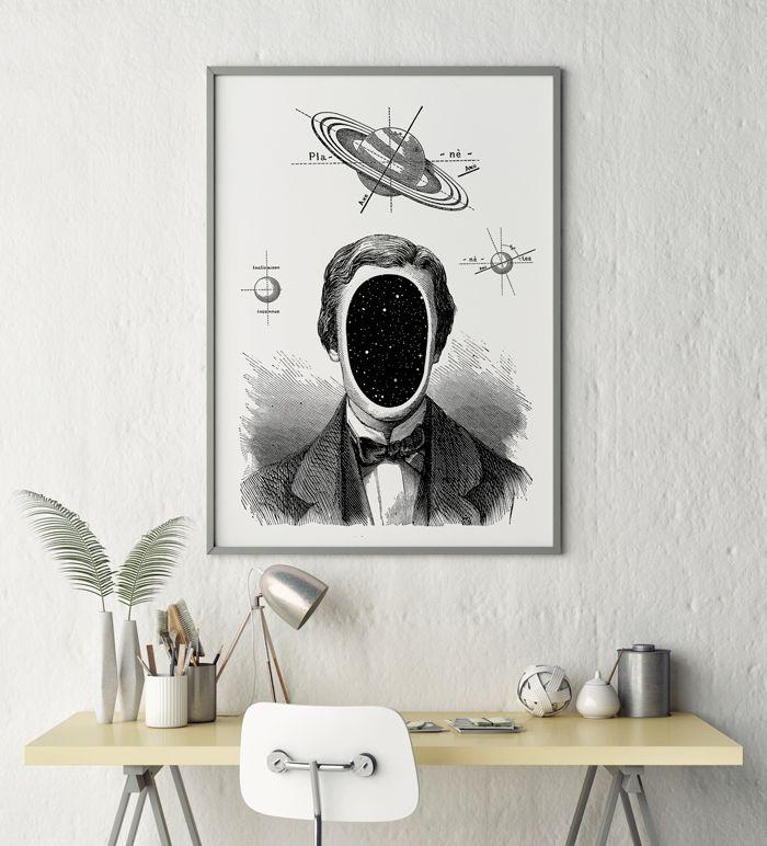 Cosmic guy by HOG STUDIO #space #grey #blackandwhite #sketch #interiors