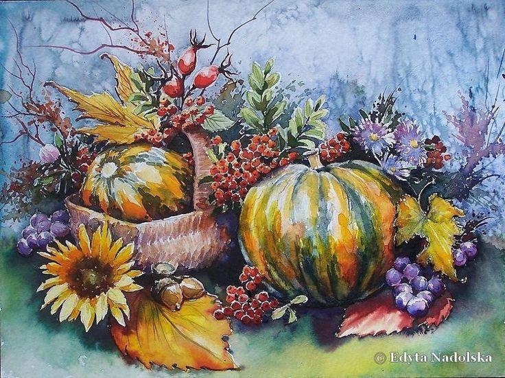 Edyta Nadolska Watercolor Art - 'United colors of autumn'