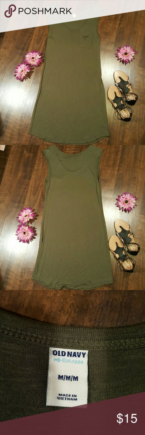 Summer dress So soft! Light summer sleeveless dress.  Gently used, great condition! Only worn once.  100% Rayon Heather green color Size Medium  Back neckline to bottom hem measures 35.5 inches Old Navy Dresses Midi