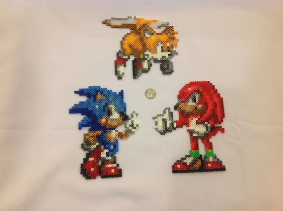 Sonic Knuckles and Tails  Perler Bead sprites by VGPerlers
