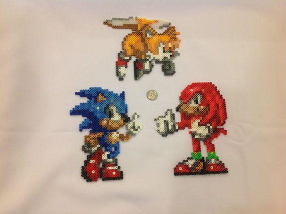 sandylandya@outlook.es  Sonic Knuckles and Tails  Perler Bead sprites by VGPerlers