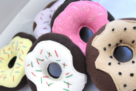 Squeaky Dog Toy Chocolate and Vanilla Donuts