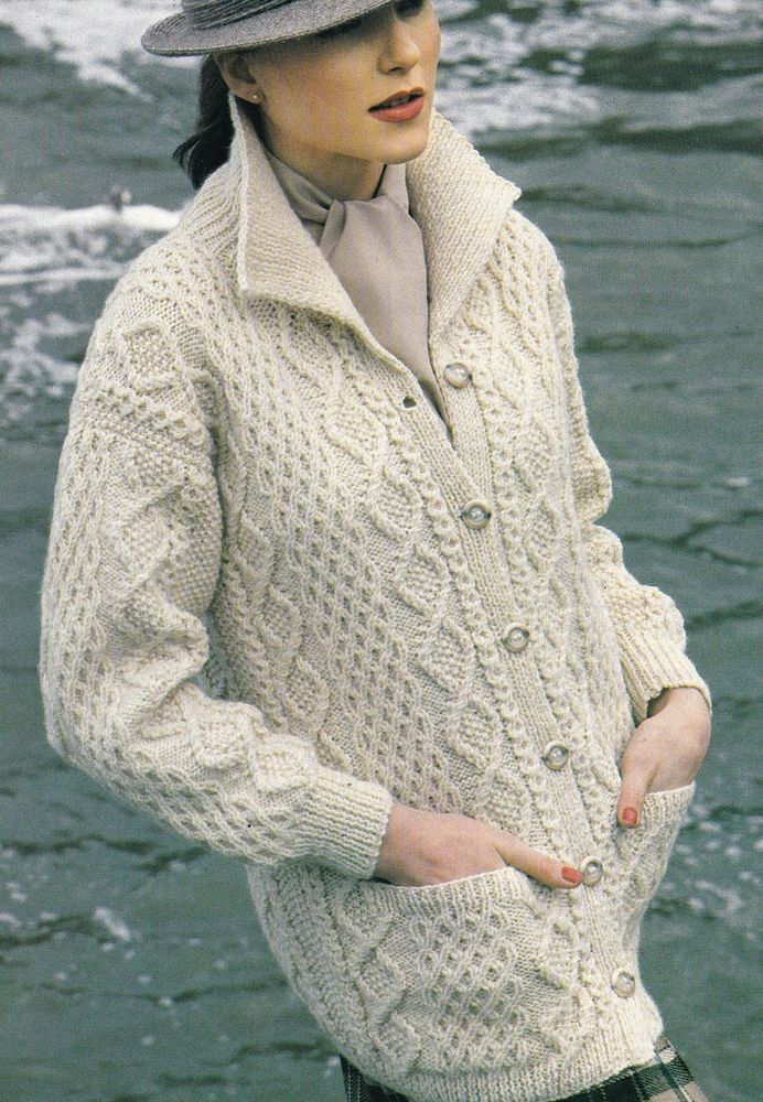 Vintage Knitting Pattern Instructions to Make a Ladies Aran Jacket Cardigan