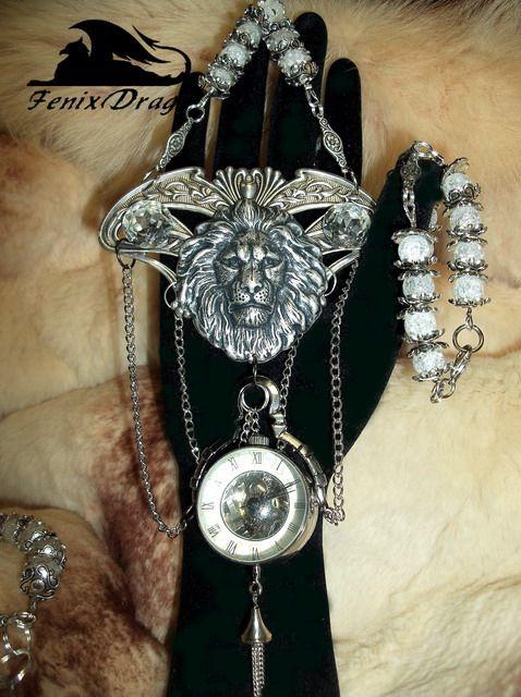 """Collana e bracciale + Ring """"leoni delle nevi Atlantide"""" con l'orologio meccanico in stile Fantasy e Steampunk"""