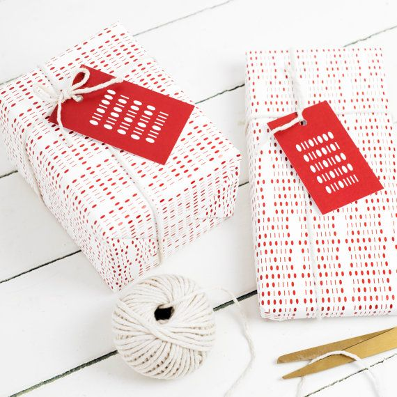 Binary Gift Wrap Set Red White Wrapping Paper Tags String Ribbon Computer Geek Nerd Science Big Bang Theory Anniversary Birthday Valentine's