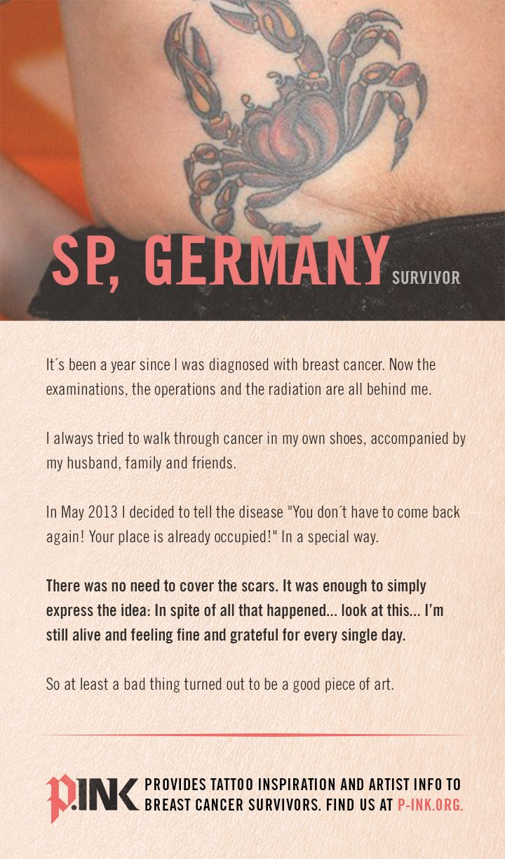 """S.P. from Germany shares how P.INK inspired her to get a breast tattoo:  """"In May 2013 I decided to tell the disease 'You don't have to come back again! Your place is already occupied!' In a special way... So at least a bad thing turned out to be a good piece of art.""""   If you have a story to share, we'd love to hear from you [p-ink.org]."""