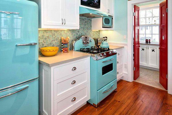 blue vintage kitchen decor idea