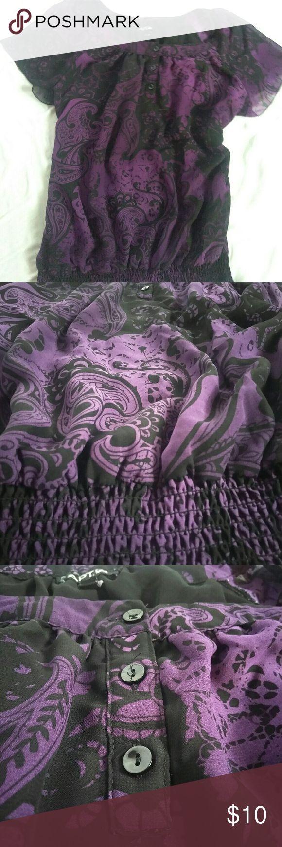 Shiffon purple women top. SIZE L Lightweight. Bat wing sleeves Apt. 9 Tops Blouses