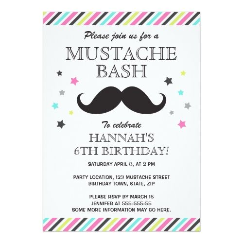 aqua pink green stripes mustache birthday party card - Mustache Party Invitations