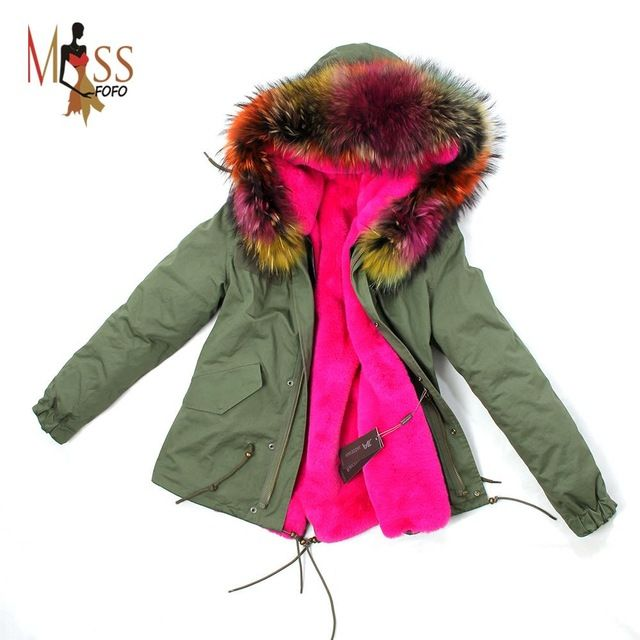 2016 women's army green Large raccoon fur collar hooded coat parkas outwear 2 in 1 detachable lining winter jacket brand style US $149.99 /piece      CLICK LINK TO BUY THE PRODUCT   http://goo.gl/4du0DP