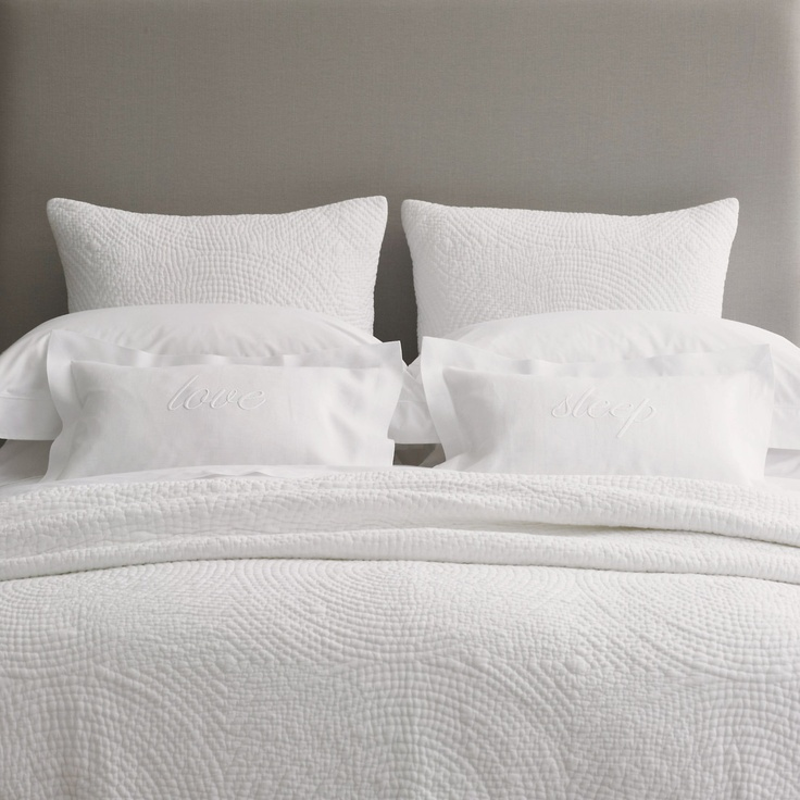 Buy Bedroom > Bedspreads & Cushions > White Bergamo Quilt & Cushion from The White Company