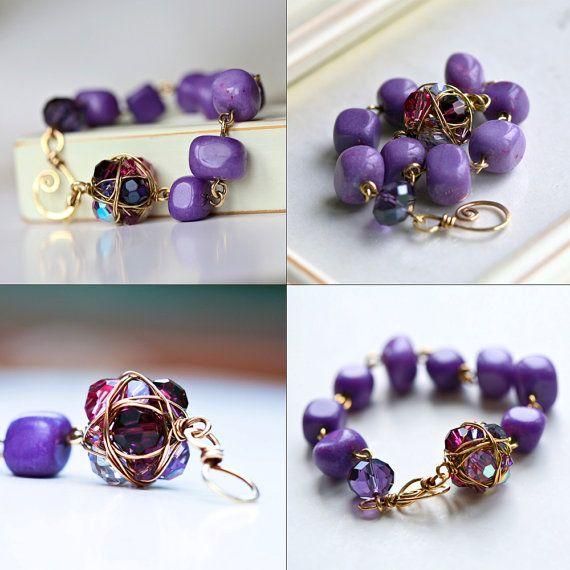 Ciottoli viola ottone filo avvolto braccialetto di Mayahelena