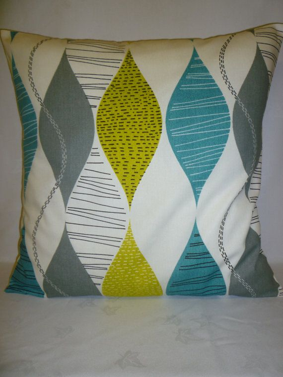 BIG Teal Blue 22 Pillow Designer Cotton Cushion by WickedWalls, $19.50