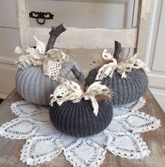 Sweater Pumpkins Set of 3 Grey fabric by TatteredTreasures1