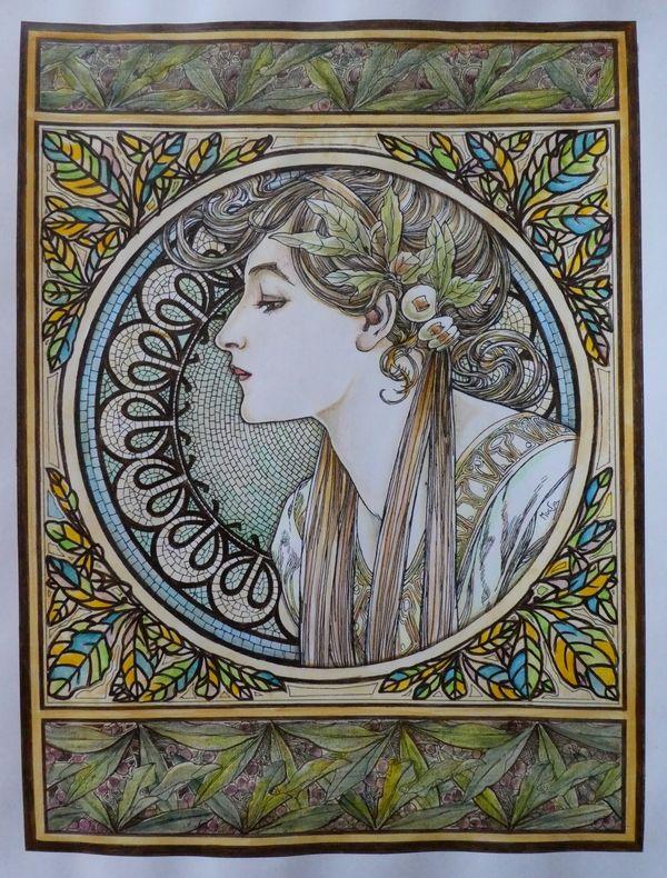 完成】ミュシャ塗り絵『つた&月桂樹』 塗り過程(メイキング)です☆ミュシャぬりえファンタジーより ヴィンテージ