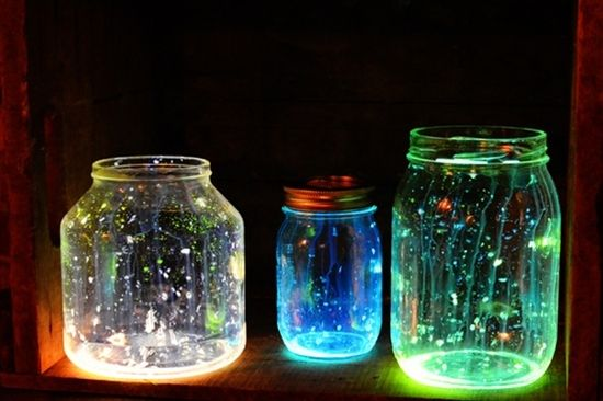 DIY Glow Jars Tutorial  For each glow jar you will need:  a jar  two Glow Sticks  scissors  rubber gloves  safety glasses  - cut stick into jar swirl around, dump our extra glass/plastic from inside the shell.  Go enjoy the glow! :)