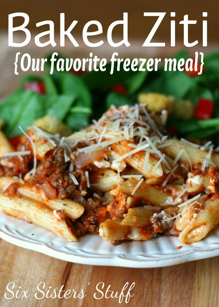 Baked Ziti - 1 pound dry ziti or penne pasta, 1 lb lean ground beef seasoned with pepper, garlic powder, onion powder, and minced garlic, 2 (26 ounce) jars spaghetti sauce (can add zucchinni for more veggies), 8 slices provolone, 1.5 c. sour cream