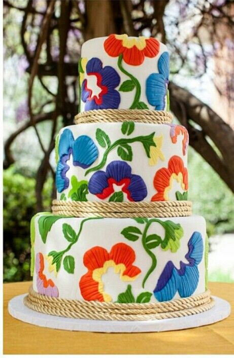 Bright colored floral cakes