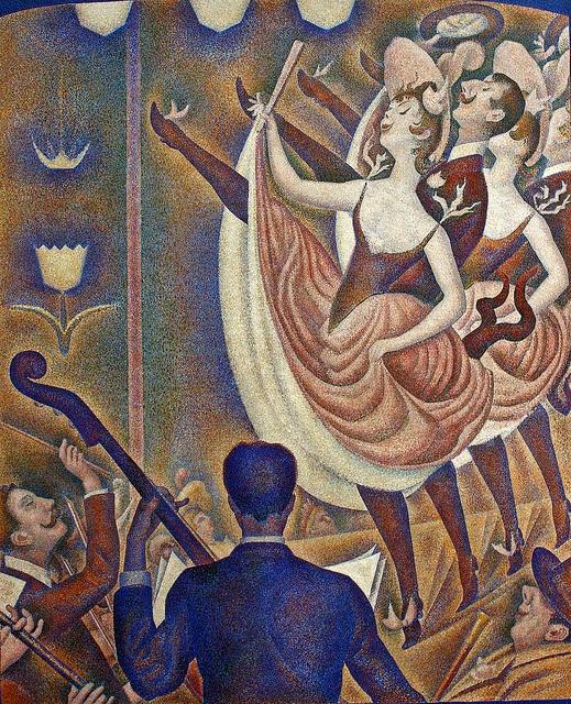 9. George Seurat, Le Chahut. Solamente en un par de obras Seurat se sintió atraído por el movimiento y la acción.