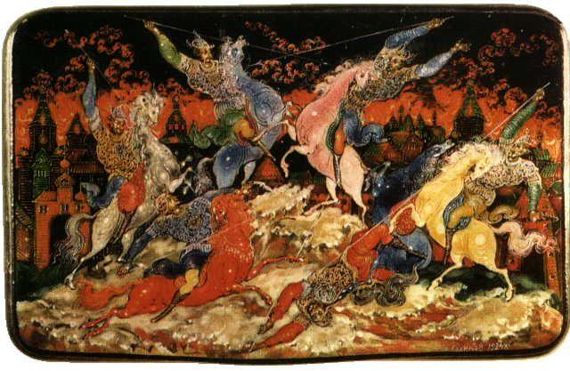 Куликовская битва. Портсигар,1924.ГМПИ.Ivan Ivanovich Golikov.Иван Иванович Голиков (1886-1937).