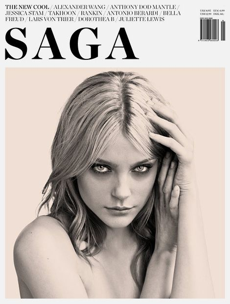 Jessica Stam for Saga Magazine – cover layout | Magazine Cover: Graphic Design, Typography, Photography | Photo: Eric Guillemain |