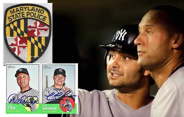 Maryland troopers ask Derek Jeter and Nick Swisher for autographs during ALDS Game 1