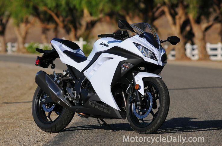 white Kawasaki Ninja 500R   Found on motorcycledaily.com
