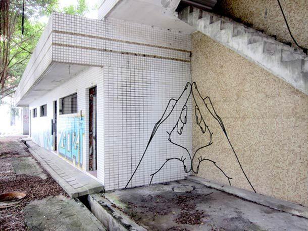 """Le """"Tape Art"""" de l'artiste australienBUFF DISS, qui utilise du masking tape, du ruban adhésif et du papier collant pour peupler la ville de ses créations."""