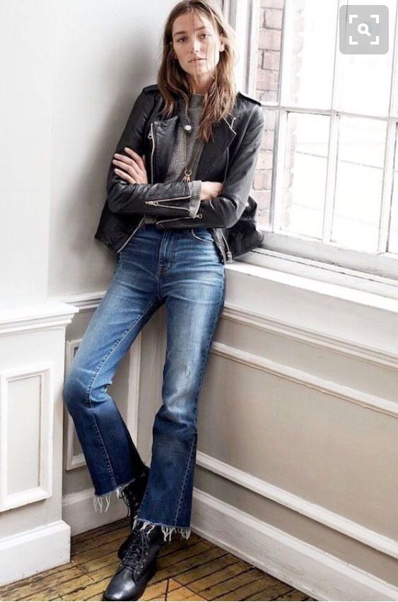 #cropped kick flare jeans