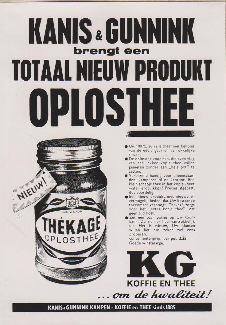 Kanis en Gunnink Oplosthee. Advertentie. Ontwerp Ger Dorant, Patz reclamestudio Amsterdam 1962