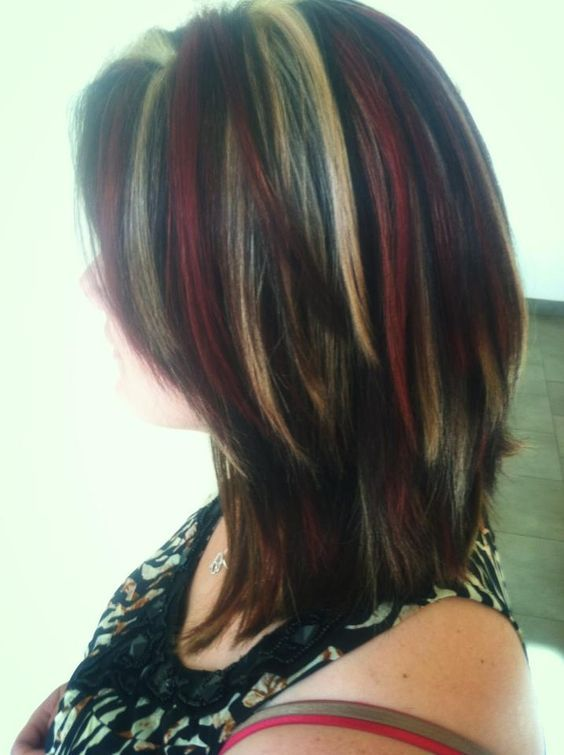 Red blonde and brown chunky highlights edgy extreme hair color idea kelly clarkson hair inspired highlights and lowlights by me