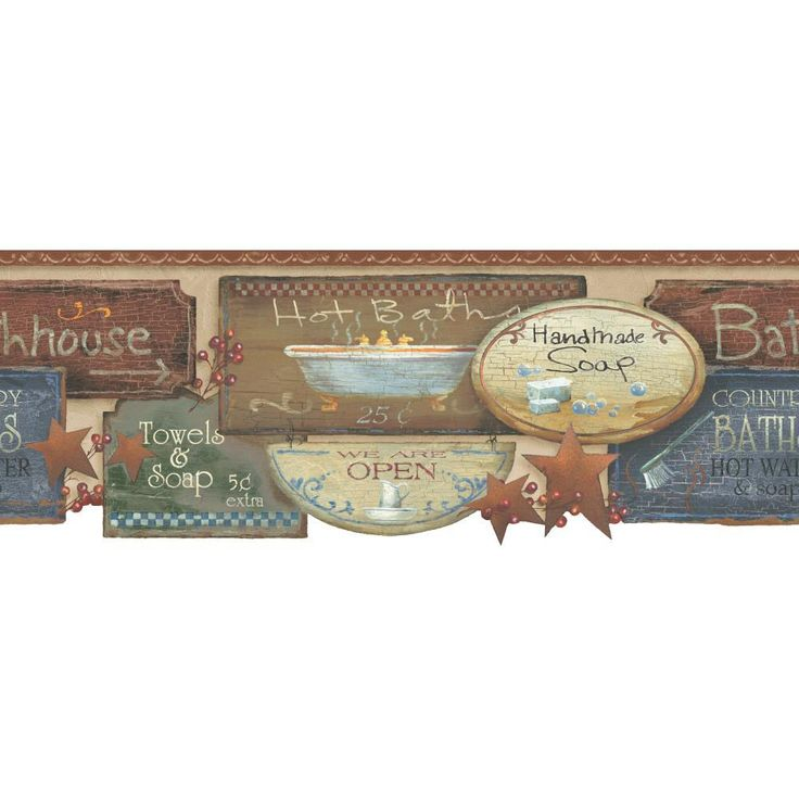 Wallpaper Borders For Country Bathrooms | ... Welcome Home Bath Signs  Country Prepasted Wallpaper