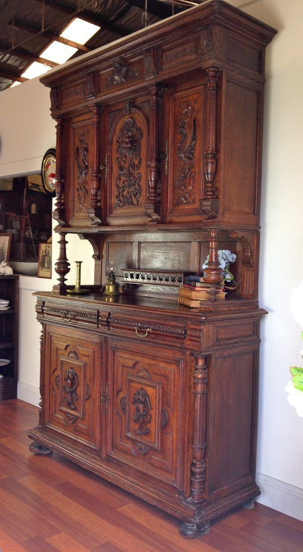 Rare Antique French Carved Henry Ii Oak Sideboard