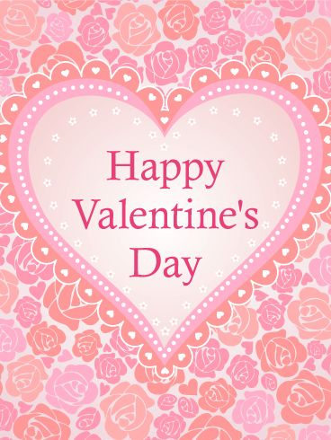 Pink Roses And Hearts Happy Valentine S Day Card Valentine S Day Is