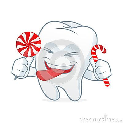 Tooth cartoon mascot eat candy